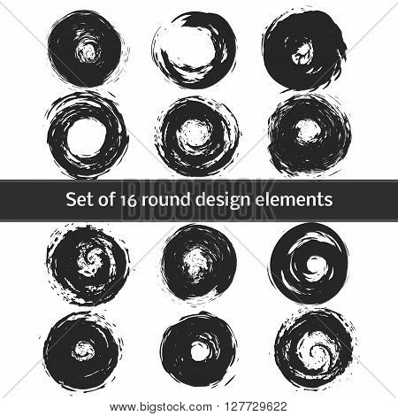 Set of Circle Shapes.Circle Retro Shape.Circle Label Shape.Grunge Circle Shape.Circle Vintage Shape.Circle Icon Shape.Circle Banner Shape. Vector illustration