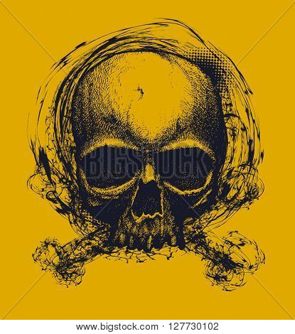 Human skull. Hand drawn vector illustration