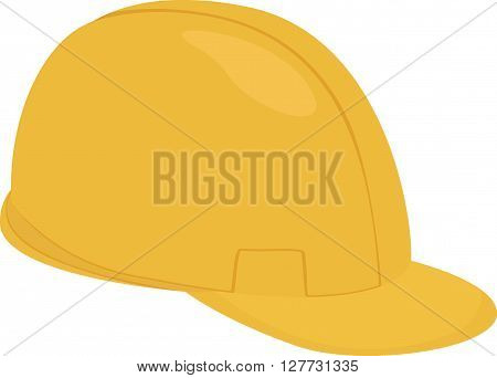 Builder  cartoon yellow protection helmet isolated on white