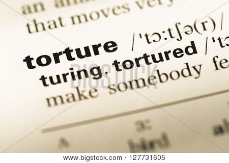 Close Up Of Old English Dictionary Page With Word Torture.