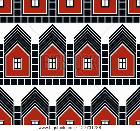 Abstract vector houses and cottages continuous background real estate theme.