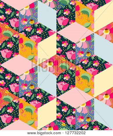 Colorful seamless patchwork pattern from textile with flowers, leaves and cups with tea. Beautiful vector illustration of quilt.
