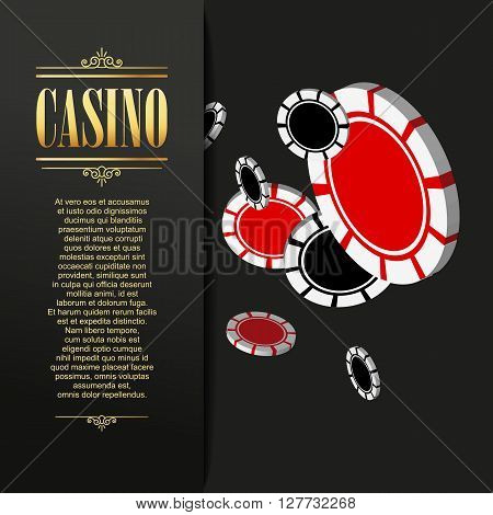 Casino background. Vector Poker illustration. Gambling template. Casino design with flying poker chips. Four aces. Casino banner. Casino logo. Casino flyer. Vector casino gambling illustration.