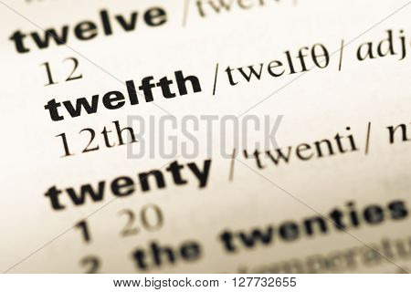 Close Up Of Old English Dictionary Page With Word Twelfth.