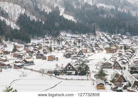 Winter Of Shirakawago with snow falling , Japan