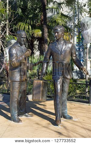 Sochi, Russia - February 9, 2016: The monument to the heroes of the Comedy directed by Leonid Gaidai The Diamond Arm, mounted in Sochi near the building of the marine station.