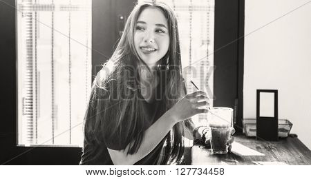 Woman Drinking Iced Green Tea Concept