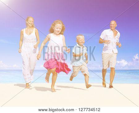 Summer Beach Family Fun Concept