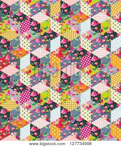Colorful seamless patchwork pattern. Quilt from different patches with polka dot, flowers, leaves and cups with tea.