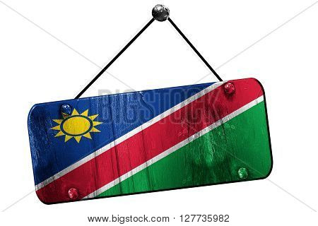 Namibian flag, 3D rendering, grunge old sign on a rope