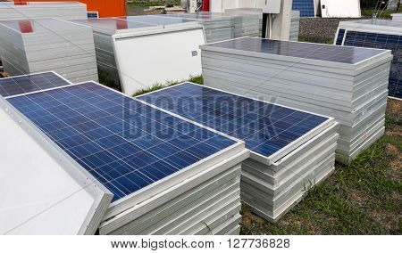 Piles of solar cells ready for installation ** Note: Soft Focus at 100%, best at smaller sizes