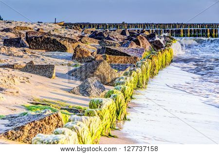 Wooden And Rocky Groynes