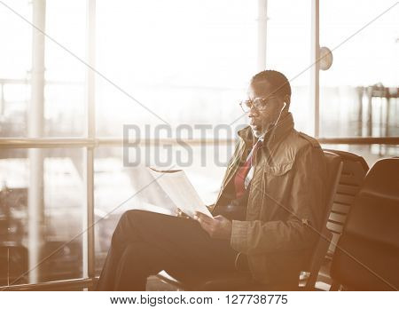 Businessman Waiting Station Reading Travel Concept