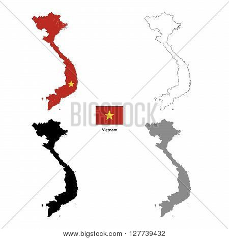 Vietnam country black silhouette and with flag on background isolated on white