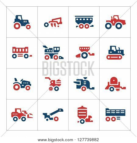 Set color icons of agricultural machinery isolated on white. Vector illustration