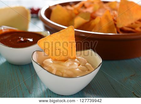 Nachos crisps with cheesee and salsa dips