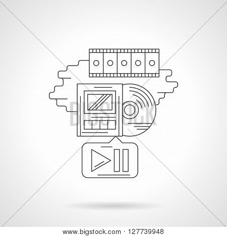 Obsolete movie playback. Video archive. Disc with player, button application and film strip. Cinema industry. Detailed flat line vector icon. Web design elements for business, site, mobile app.