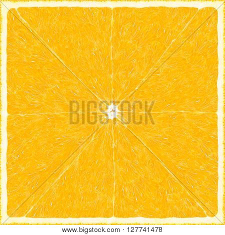 Big orange texture background. Square fruit sweet pattern. Citrus cut art. Tangerine incision. Fresh summer texture orange surface. Design element graphic.