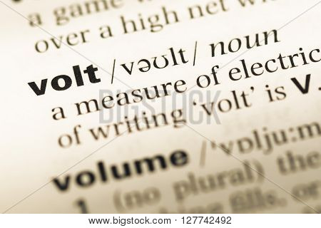 Close Up Of Old English Dictionary Page With Word Volt.