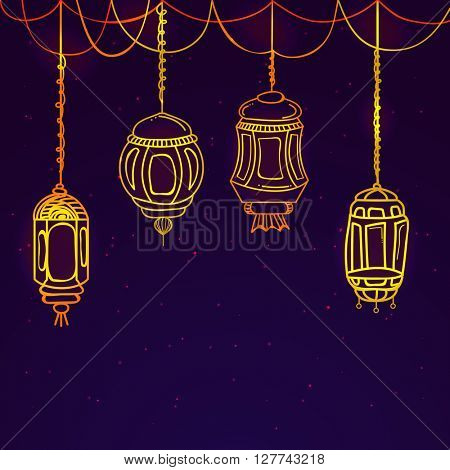 Glossy hanging Lamps decorated purple background for Islamic Holy Month, Ramadan Kareem celebration.