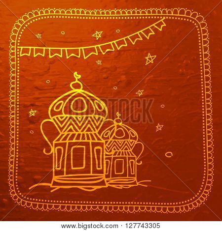 Elegant shiny greeting card design with creative lanterns for Islamic Festival celebration concept.