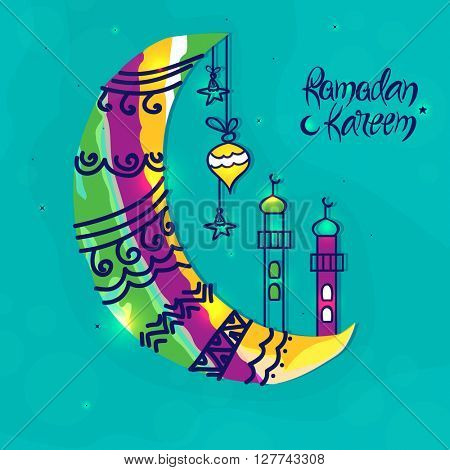 Creative colourful Crescent Moon with Mosque on sky blue background for Ramadan Kareem celebration.