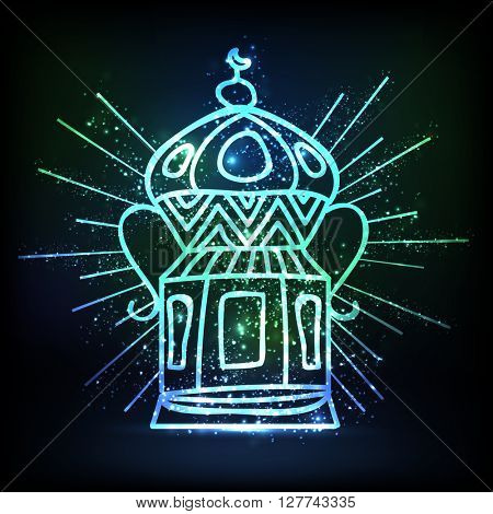 Creative traditional Lamp on shiny background for Islamic Festival celebration.