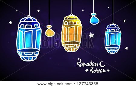 Creative hand drawn Lamps hanging on stars decorated background for Islamic Holy Month, Ramadan Kareem celebration.