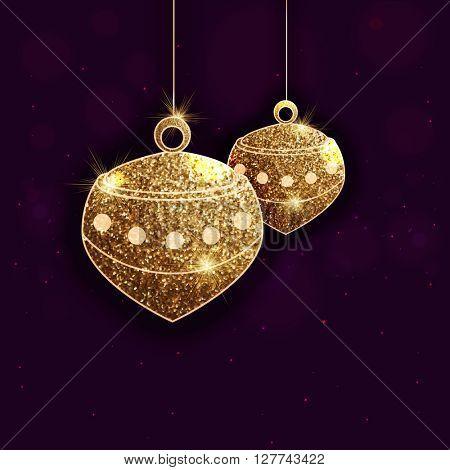 Beautiful shiny lamps made by golden glitter for Islamic Holy Month, Ramadan Kareem celebration.