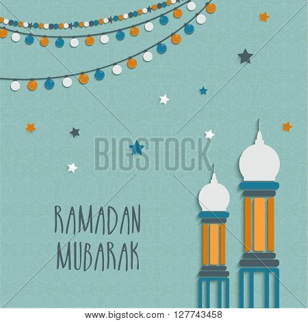 Creative glossy Mosque on colourful lights and stars decorated background for Islamic Holy Month, Ramadan Kareem celebration.