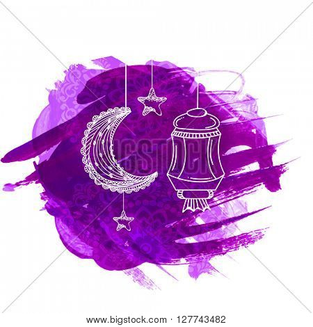 Creative Crescent Moon, Lamp and Star hanging on abstract paint strokes and floral design decorated background for Holy Month of Muslim Community celebration.