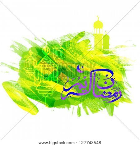 Arabic Islamic Calligraphy of text Ramadan Kareem on hanging lamps decorated creative abstract background, Greeting or Invitation Card design for Holy Month of Muslim Community celebration.