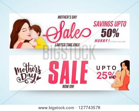 Sale Web Headers, Sale Web Banners, Different Discounts for Limited Time with Mother and Child, Vector Illustration for Mother's Day celebration.