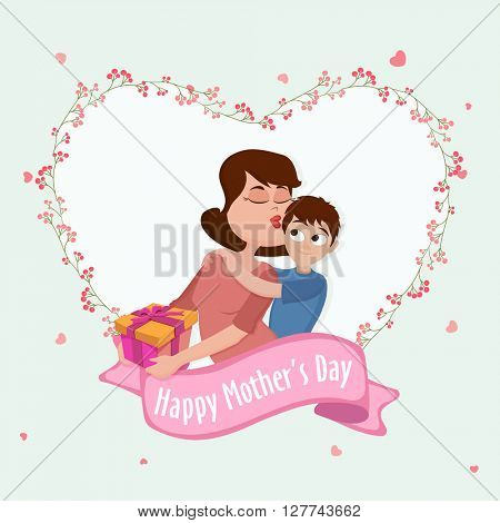Illustration of a Young Mother kissing to her Son in beautiful heart shaped frame, Elegant Greeting Card for Mother's Day celebration.