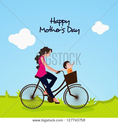 Young Woman riding a bicycle with her cute Baby on nature background. Vector illustration for Mother's Day celebration.