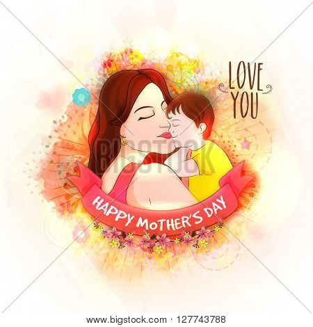 Illustration of Young Mother with her Son on flowers decorated background. Elegant Card for Happy Mother's Day. Vector illustration with beautiful Woman and Child.