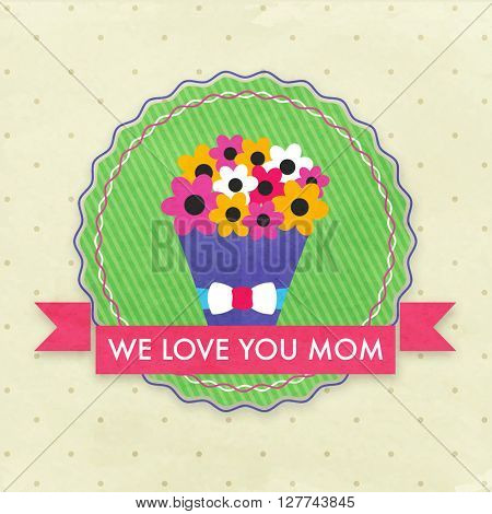 Elegant greeting card design decorated with colorful flowers bouquet for Happy Mother's Day celebration.