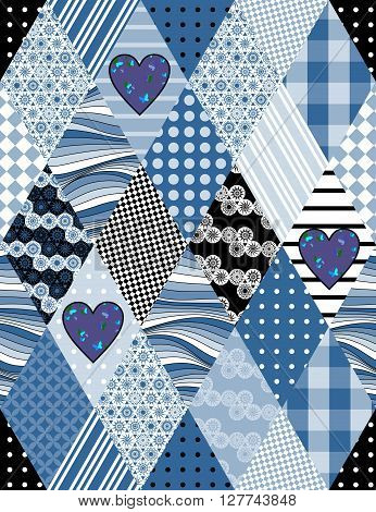 Winter seamless patchwork pattern with applique of hearts. Beautiful vector illustration of quilt in blue tones.