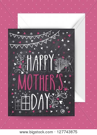 Creative chalkboard style greeting card design with envelope for Happy Mother's Day celebration.