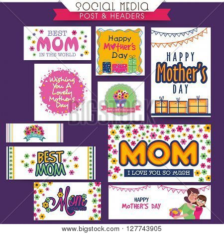 Social Media Post and Header set with different creative typographic collection for Mother's Day celebration.