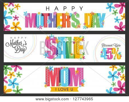 Sale website header or banner set with different colorful text for Happy Mother's Day celebration.