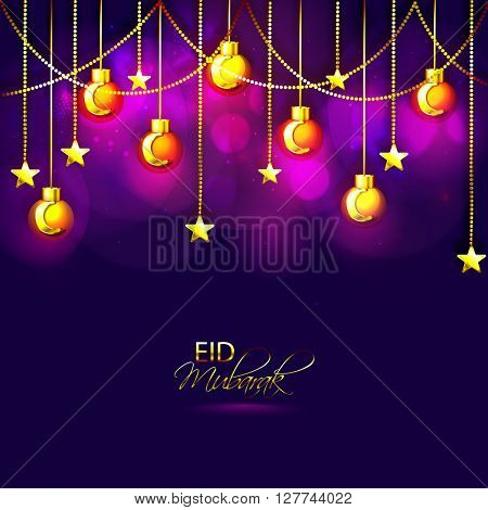 Elegant glowing golden Stars, crescent Moons and balls hanging on shiny purple background for Muslim Community Festival, Eid Mubarak celebration.