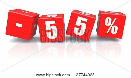 55% discount red cubes on a white background. 3d rendered image