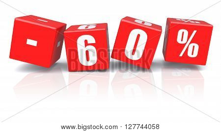 60% discount red cubes on a white background. 3d rendered image
