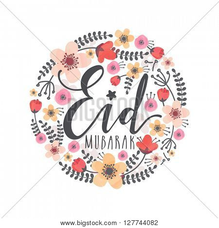 Creative colourful flowers decorated greeting card for Muslim Community Festival, Eid Mubarak celebration.