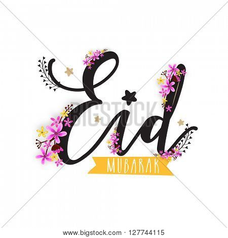 Creative pink flowers decorated stylish text Eid Mubarak on white background for Muslim Community Festival celebration.
