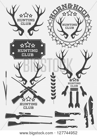 Set Of Vintage Hunting Logo, Labels And Badges. Deer. Horn. Weapon. Vector