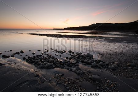Kimmeridge Bay at Sunset on the Dorset coast, England UK