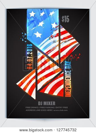 Creative Pamphlet, Banner or Flyer with glossy American flag colors abstract design for 4th of July, Independence Day celebration.