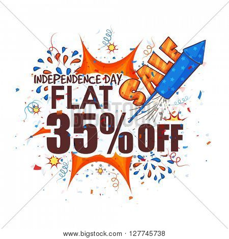 Creative Poster, Banner or Flyer design of Sale with Flat 35% Off on occasion of American Independence Day celebration.